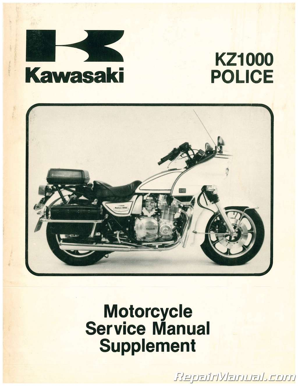 Used 1983 Kawasaki KZ1000 P3 Police Motorcycle Service Manual Supplement