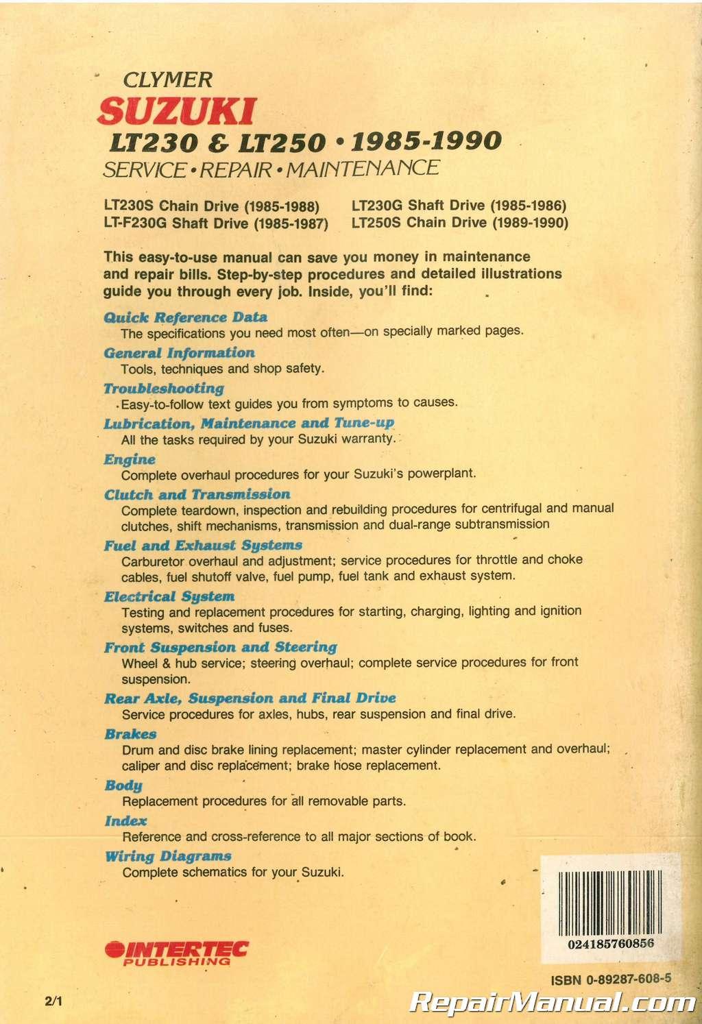 Clymer Suzuki Lt Manual