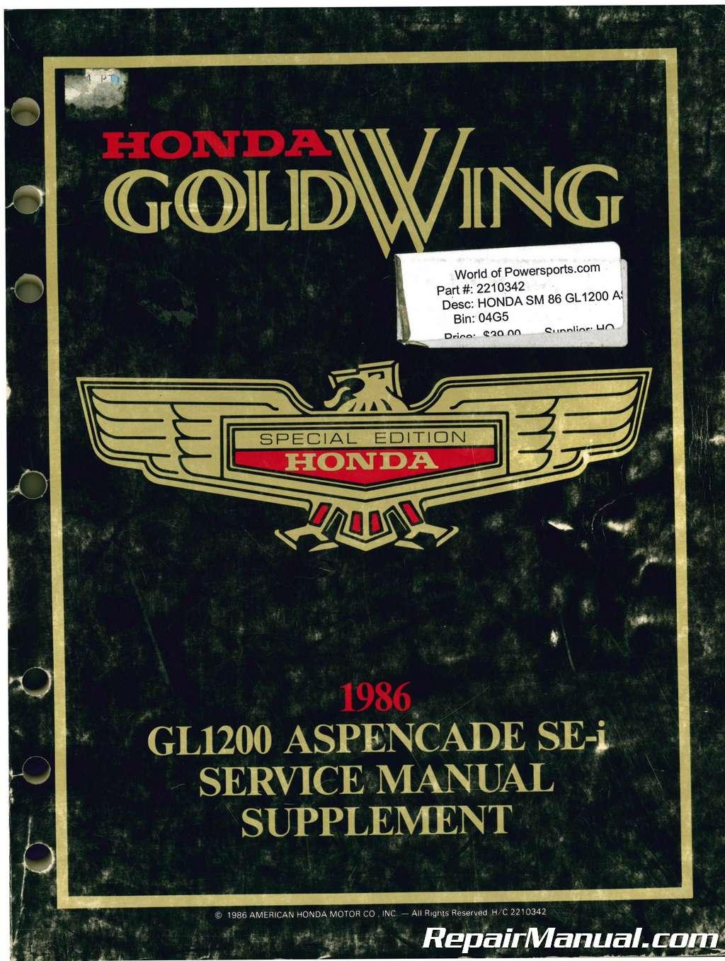 Used 1986 Honda GL1200 Aspencade SE-i Service Manual Supplement
