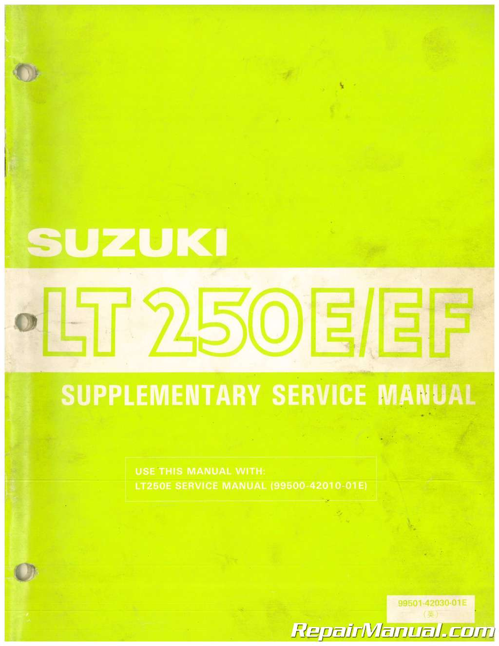 1986 Suzuki Lt250e Lt250ef Supplementary Service Manual
