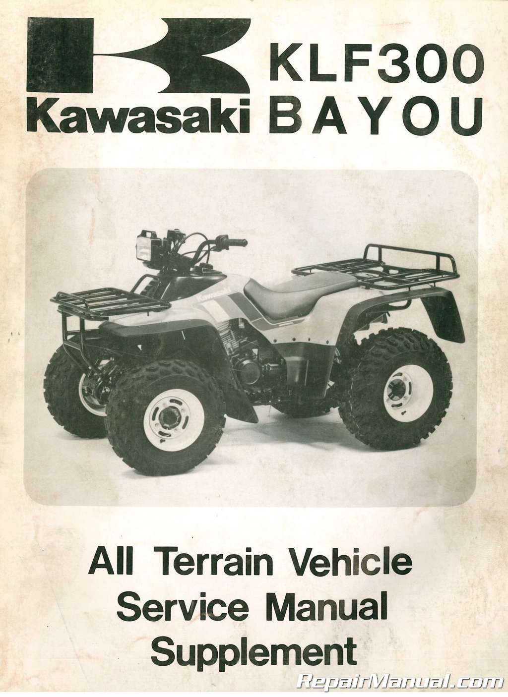 used 1988 kawasaki klf300 b1 bayou 300 service manual supplement rh repairmanual com klf 300 service manual pdf klf 300 repair manual