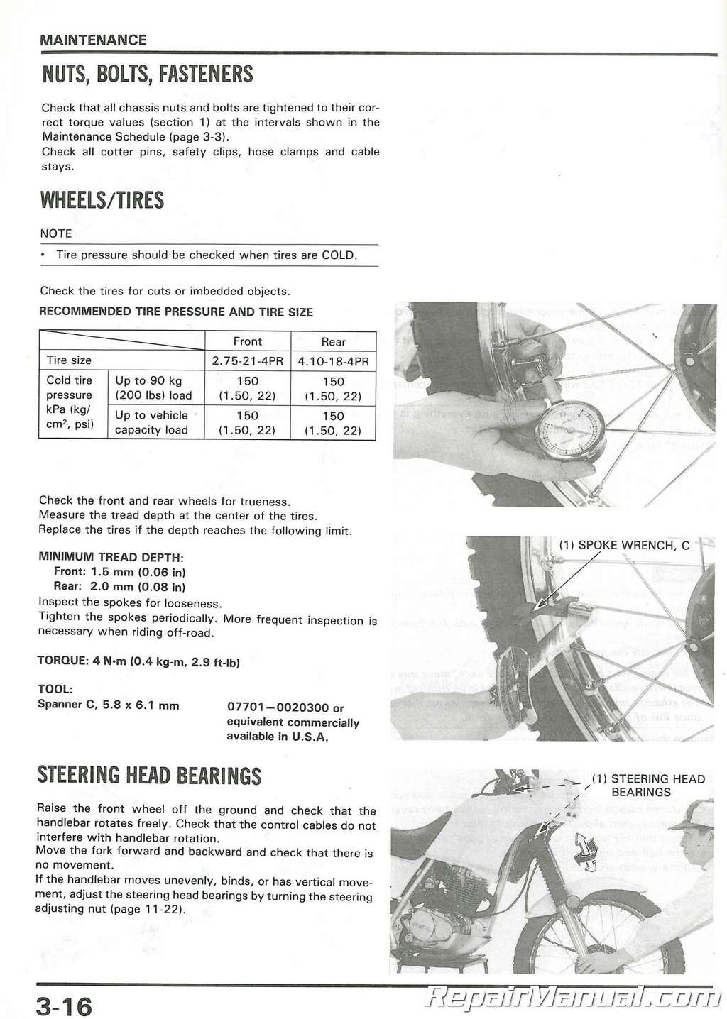 Used 1989 Honda Nx125 Motorcycle Repair Workshop Service Manual