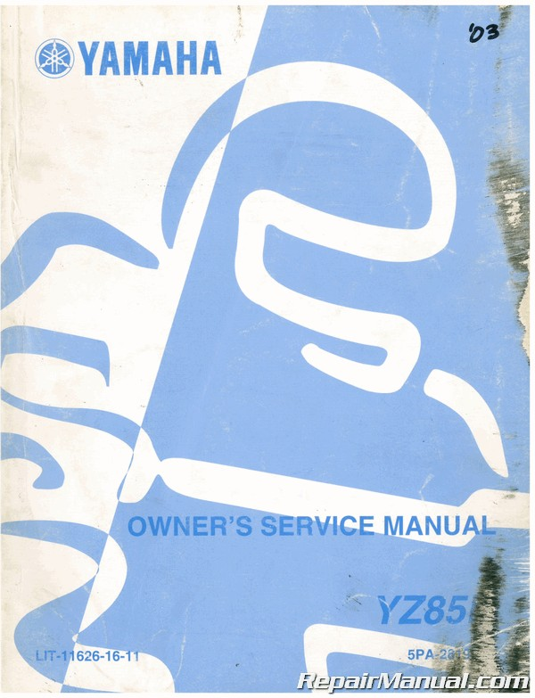 Used 2003 Yamaha Yz85 Motorcycle Owners Service Manual