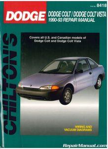 Used Chilton Dodge Colt Dodge Colt Vista 1990-1993 Repair Manual_001