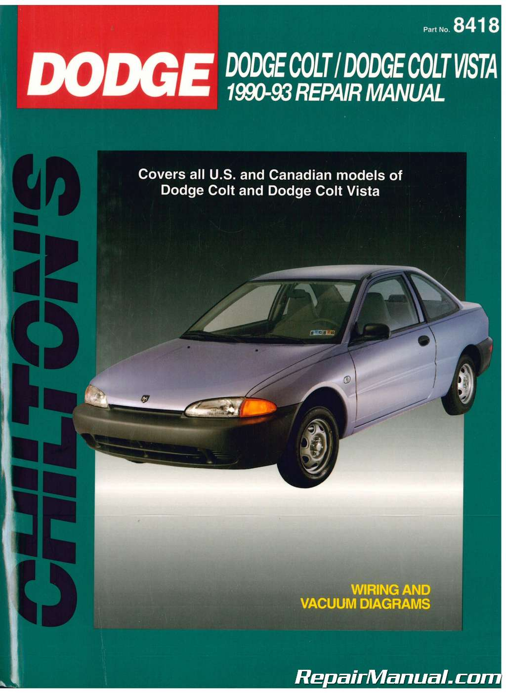 used chilton dodge colt dodge colt vista 1990 1993 repair manual1990 Dodge Colt Engine Diagram #3