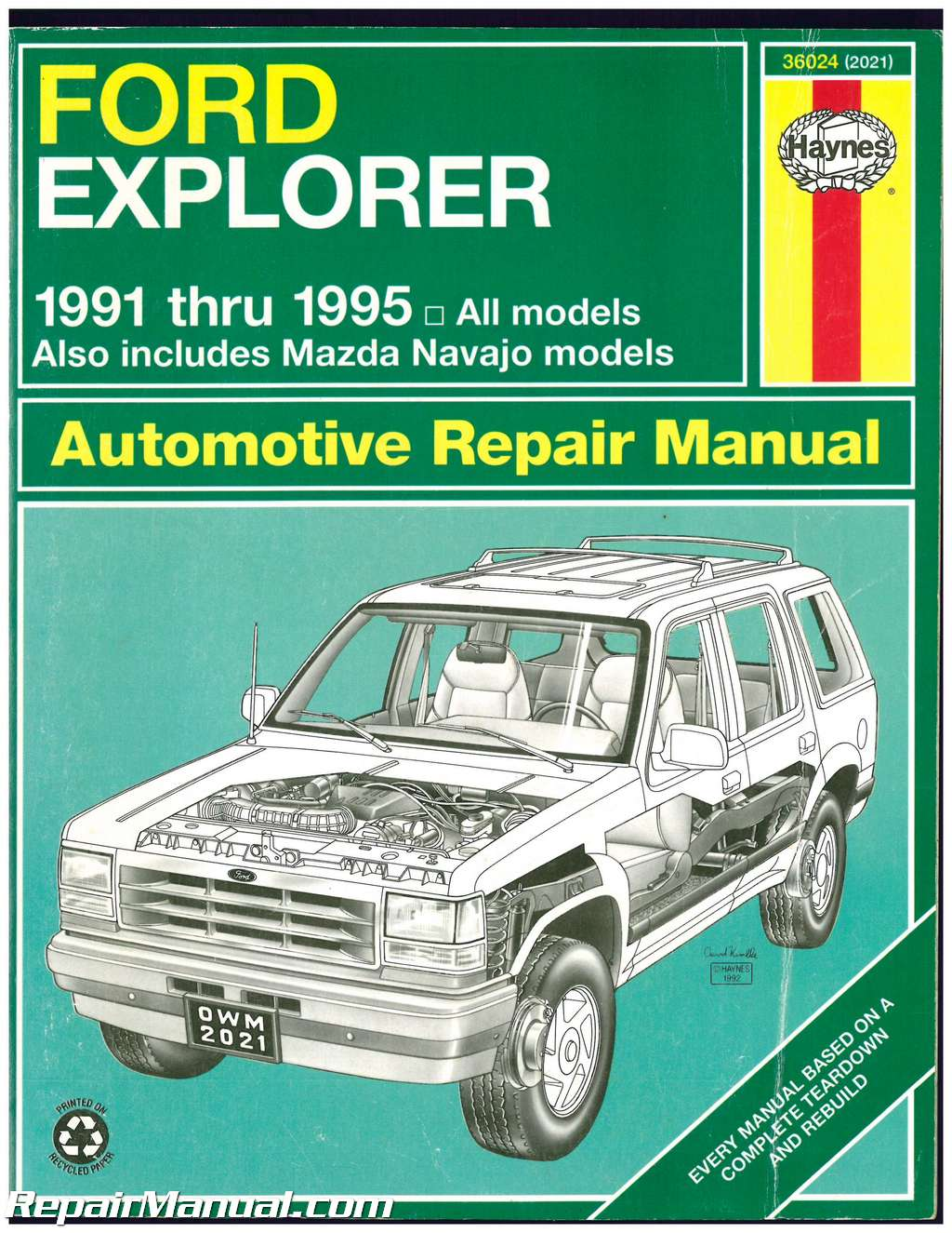used ford explorer mazda navajo mercury mountaineer automotive rh repairmanual com ford explorer 1991 thru 2001 haynes repair manual 1999 Ford Explorer Shop Manual