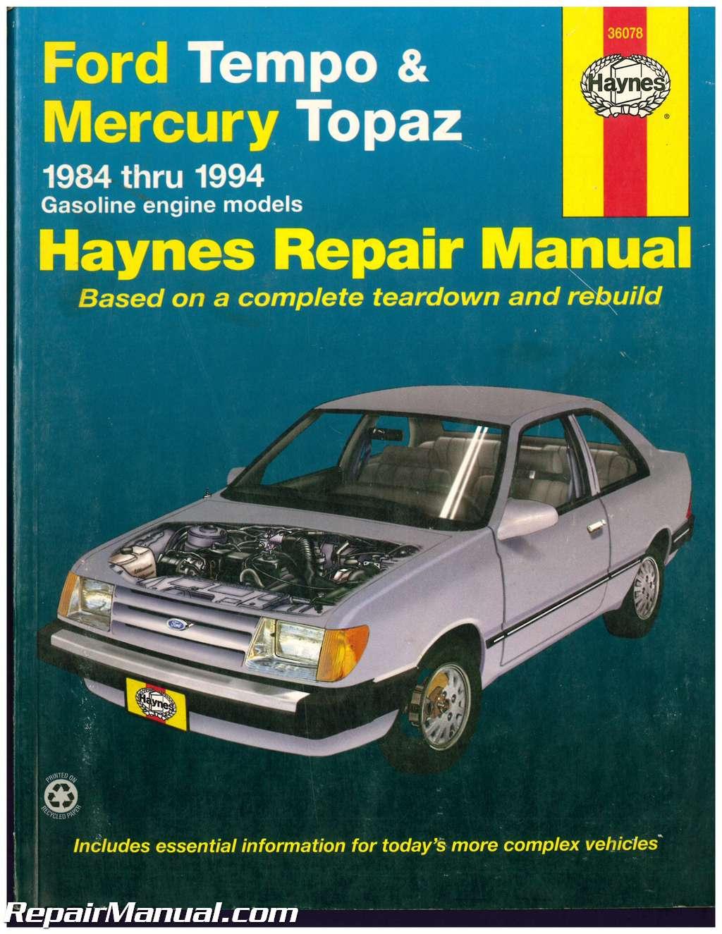 used haynes ford tempo mercury topaz 1984 1994 auto repair manual rh repairmanual com 93 ford tempo service manual Vehicle Owner's Manual