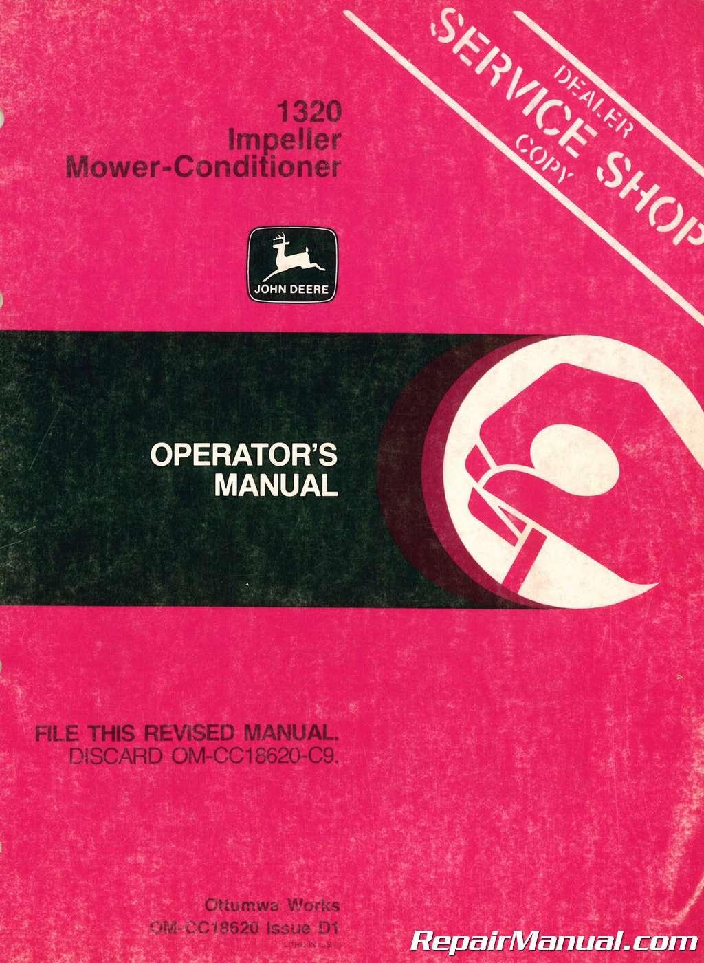 Used John Deere 1320 Impeller Mower-Conditioner Operators Manual