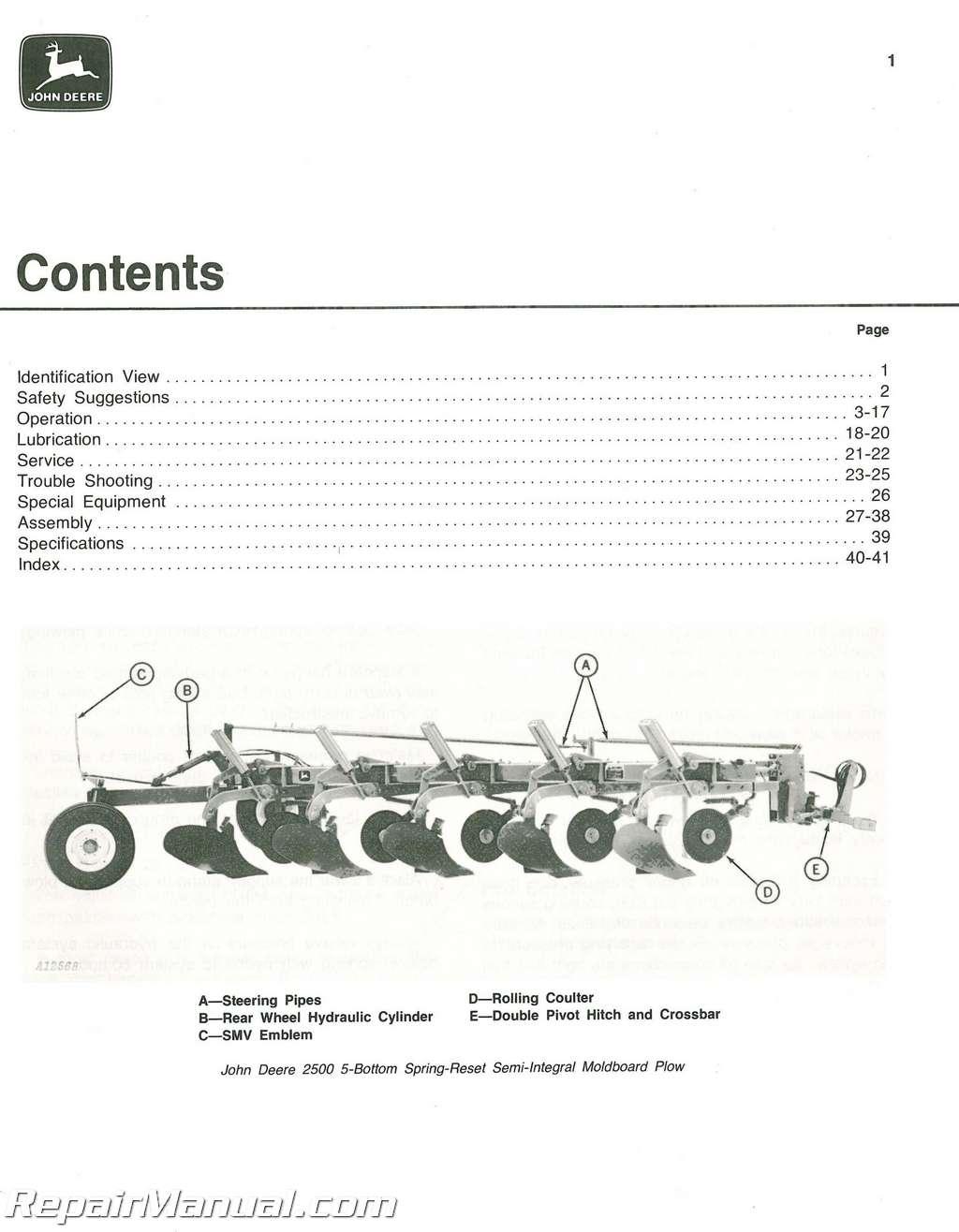 Used John Deere 2500 Spring-Reset Semi-Integral Moldboard Plows Operators  Manual