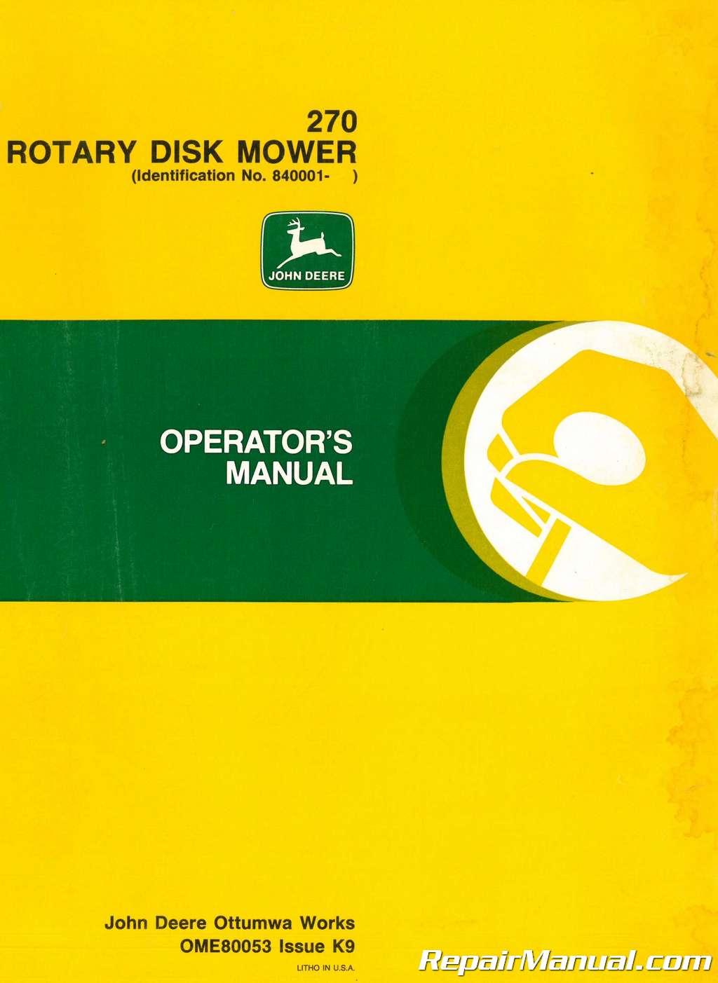 Used John Deere Rotary Disk Mower Operators Manual