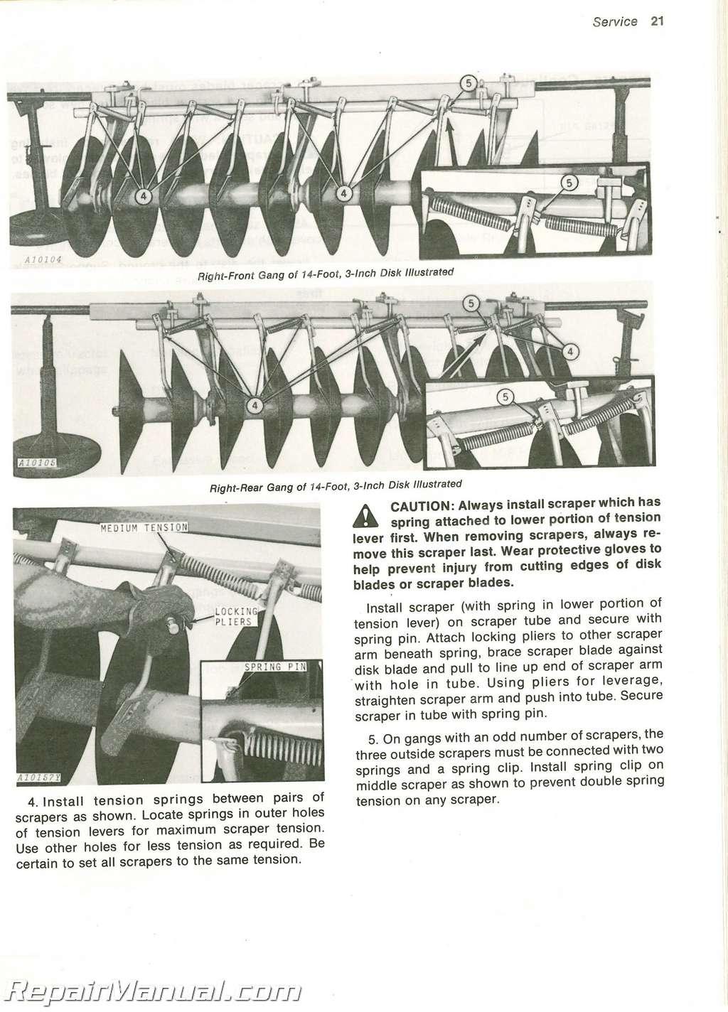 Used John Deere 310 Disk Operators Manual