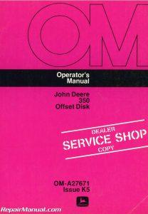 Used John Deere 350 Offset Disk Operators Manual_001