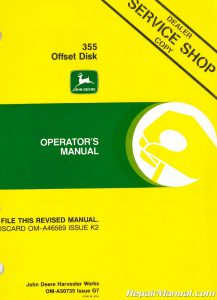 Used John Deere 355 Offset Disk Operators Manual_001