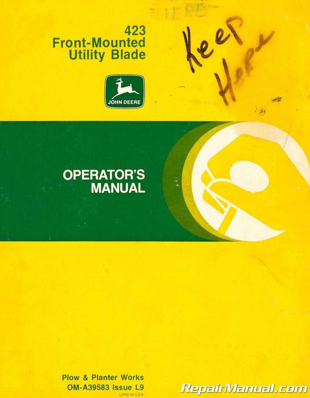 Used John Deere Front Mounted Utility Blade Operators Manual