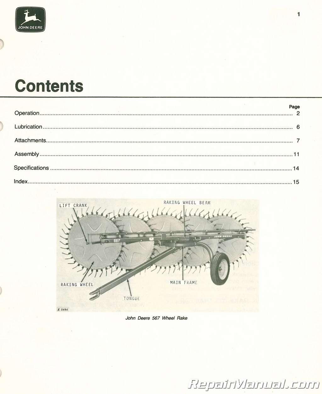 John Deere 567 Wheel Rake Operators Manual