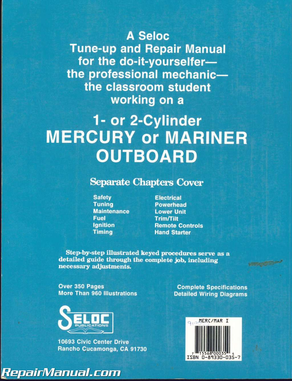 seloc mercury mariner outboards 1 2 cyl 1990 1994 boat engine repair outboard motor parts seloc mercury mariner outboards 1 2 cyl 1990 1994 boat engine repair manual