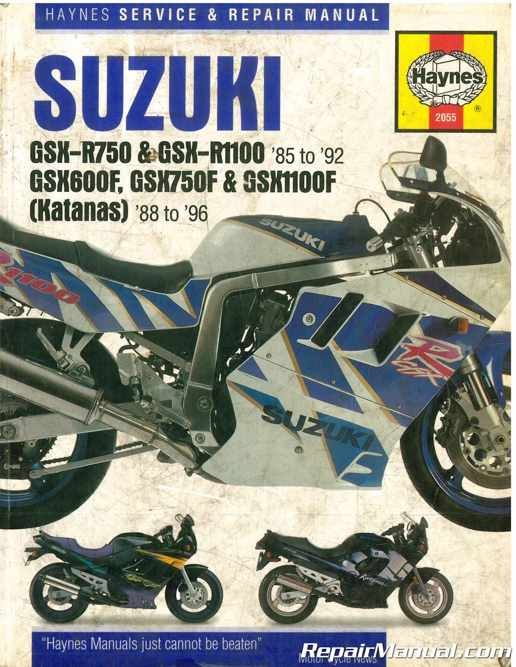 Used Suzuki GSX-R 750, GSX-R 1100 1985-1992 Katana 600 750 1100 1988-1996  Haynes Motorcycle Repair Manual