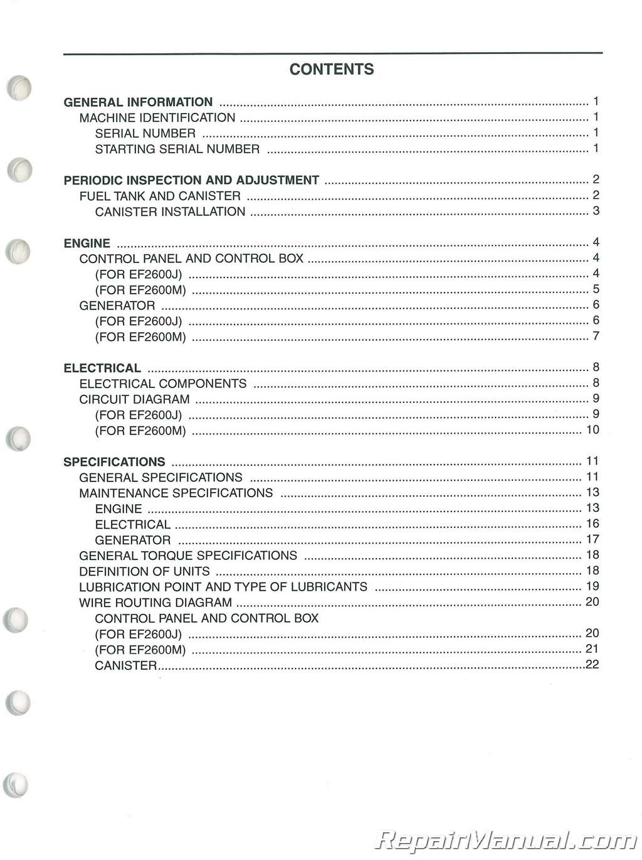 Used Yamaha Ef2600j Ef2600m Generator Service Manual