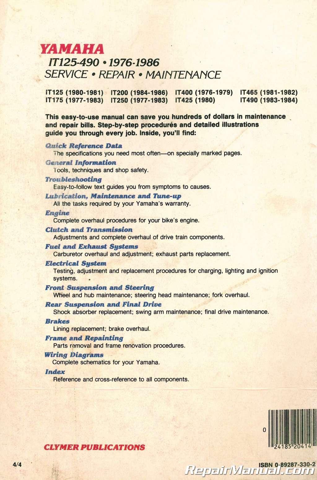 Used Yamaha IT125 IT175 IT200 IT400 IT425 IT465 IT490 Motorcycle Manual  1976-1986