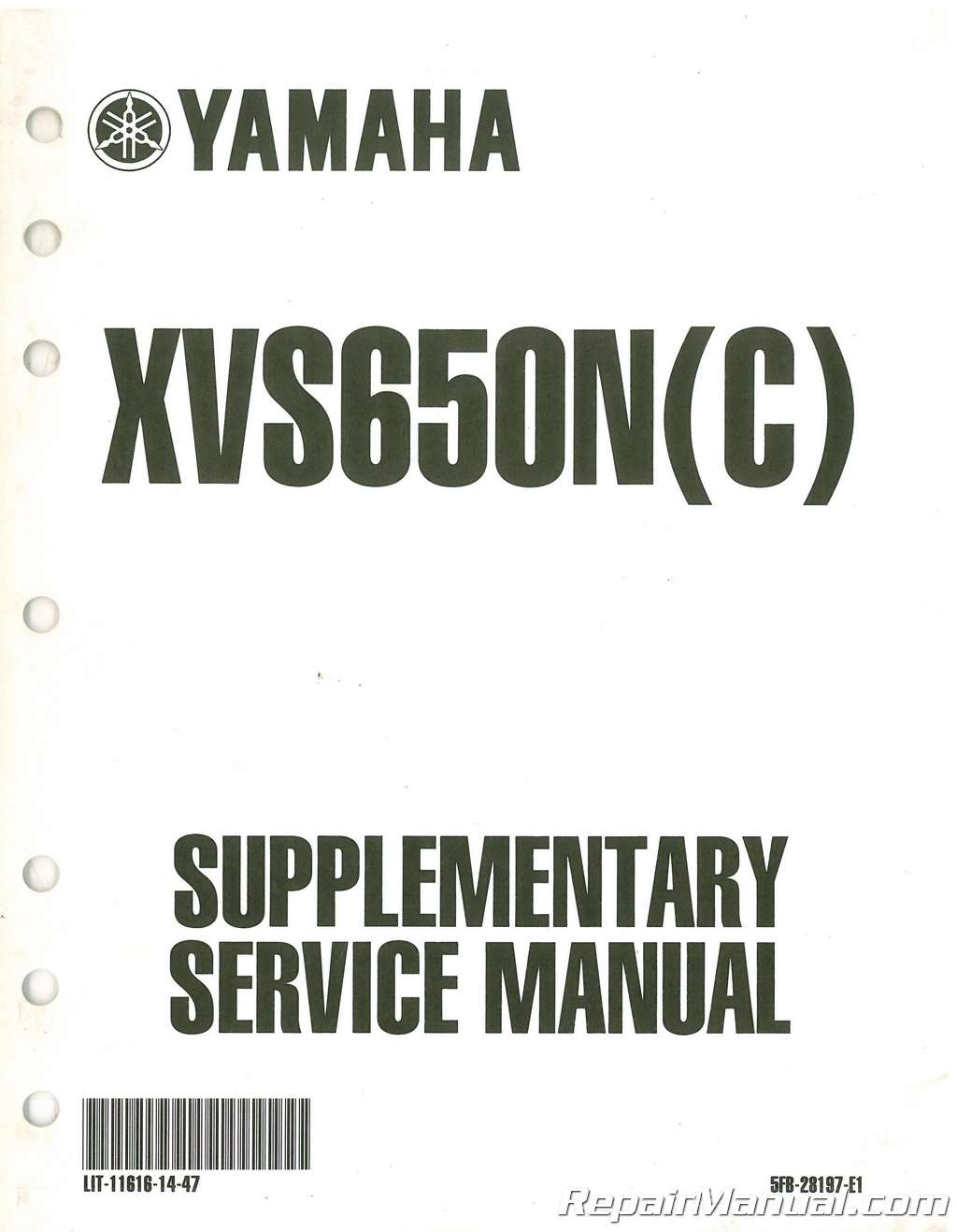 Used Yamaha XVS650N Service Manual Supplement