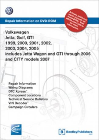 Volkswagen Jetta Golf GTI 1999-2005 includes Jetta Wagon GTI through 2006 CITY 2007 Repair Manual on DVD-ROM