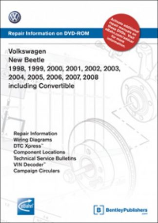 Volkswagen New Beetle 1998-2009 including Convertible Repair Manual on DVD-ROM