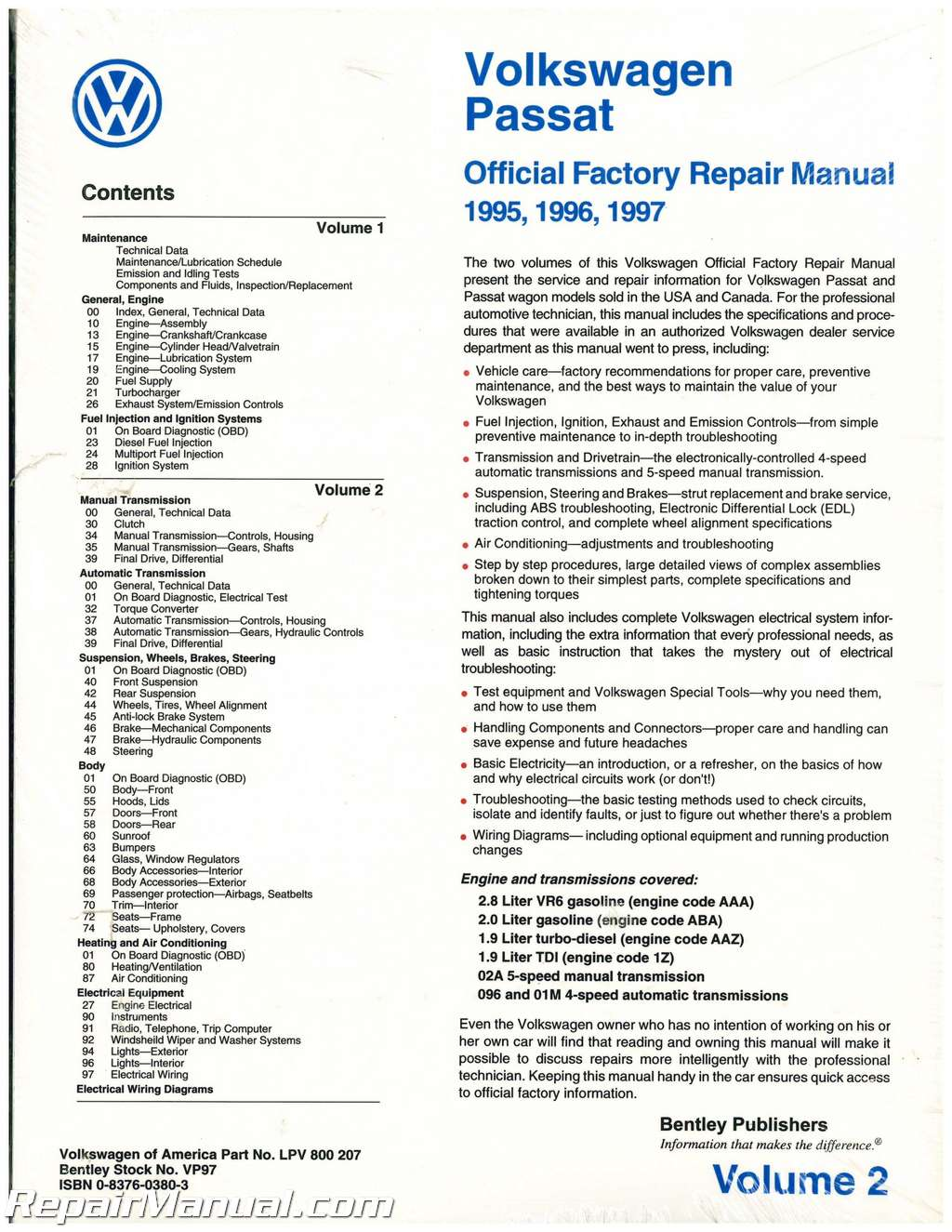 Volume 2 Only Volkswagen Passat  B4  Repair Manual 1995
