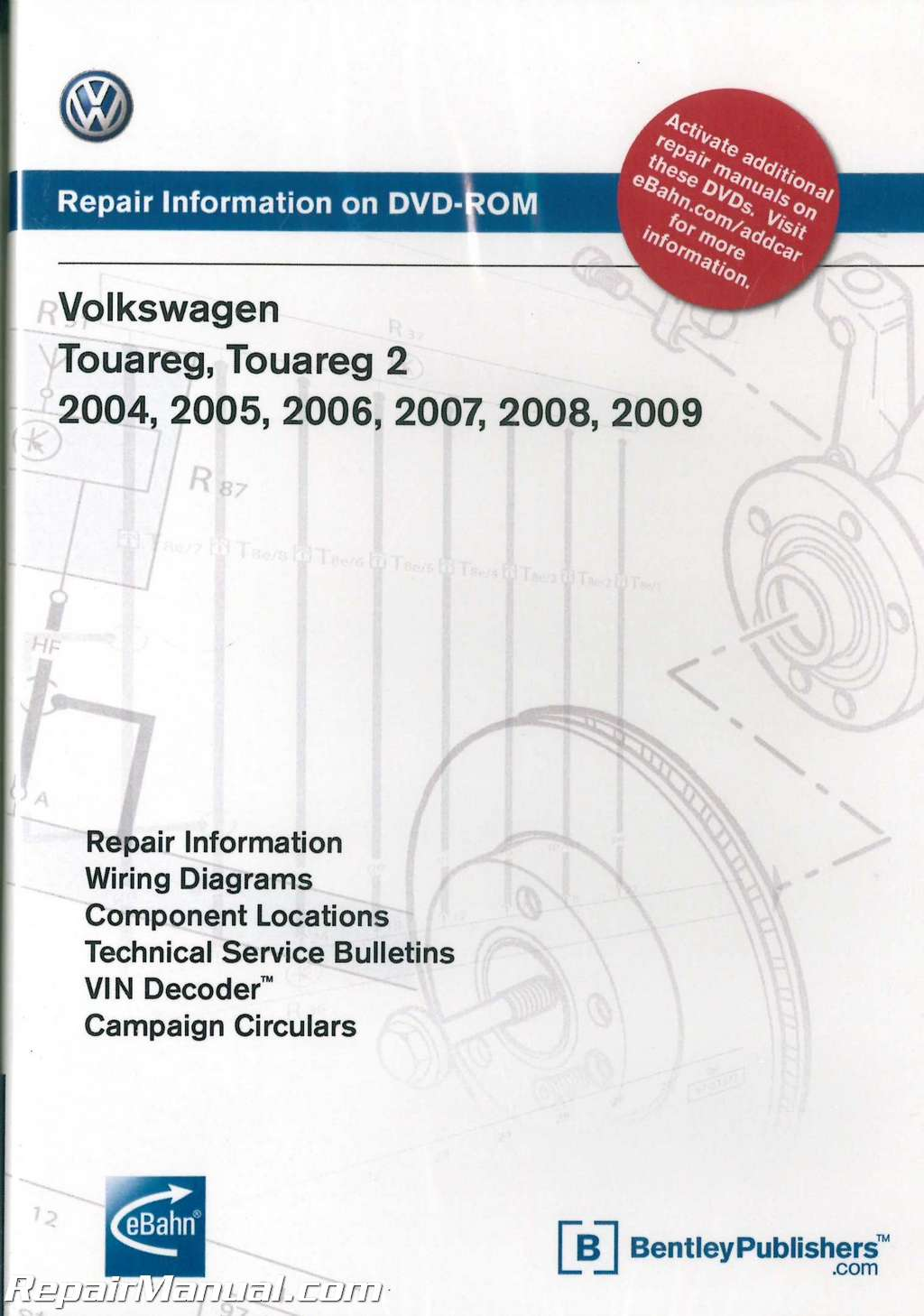 volkswagen touareg   repair manual  dvd rom