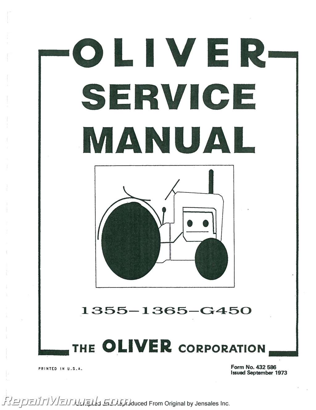Oliver White 1355 Amp 1365 Service Manual