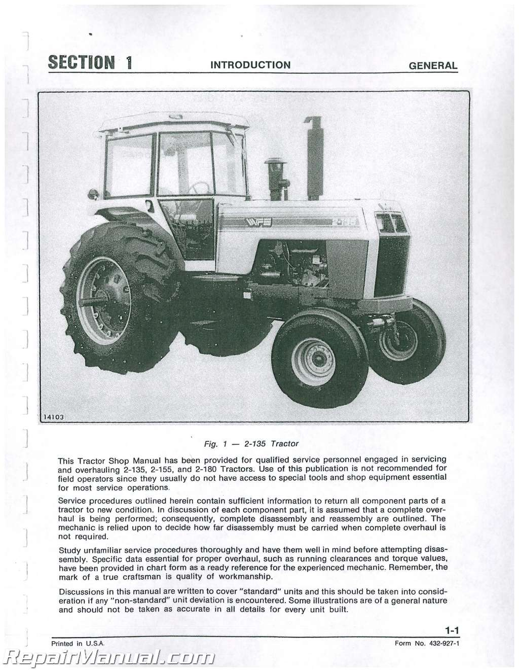 White 2-150 Tractor Service Manual IT Shop Agricultural ...