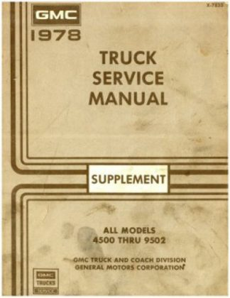Used 1978 GMC Truck Service Manual Supplement