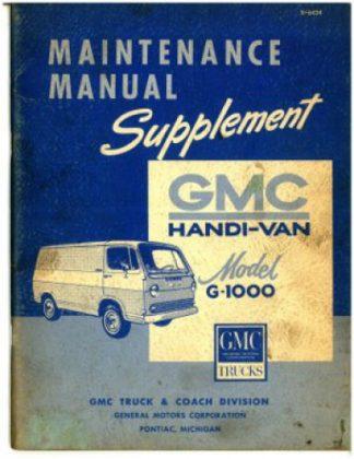 GMC Handi-Van Model G-1000 Maintenance Manual Supplement Used