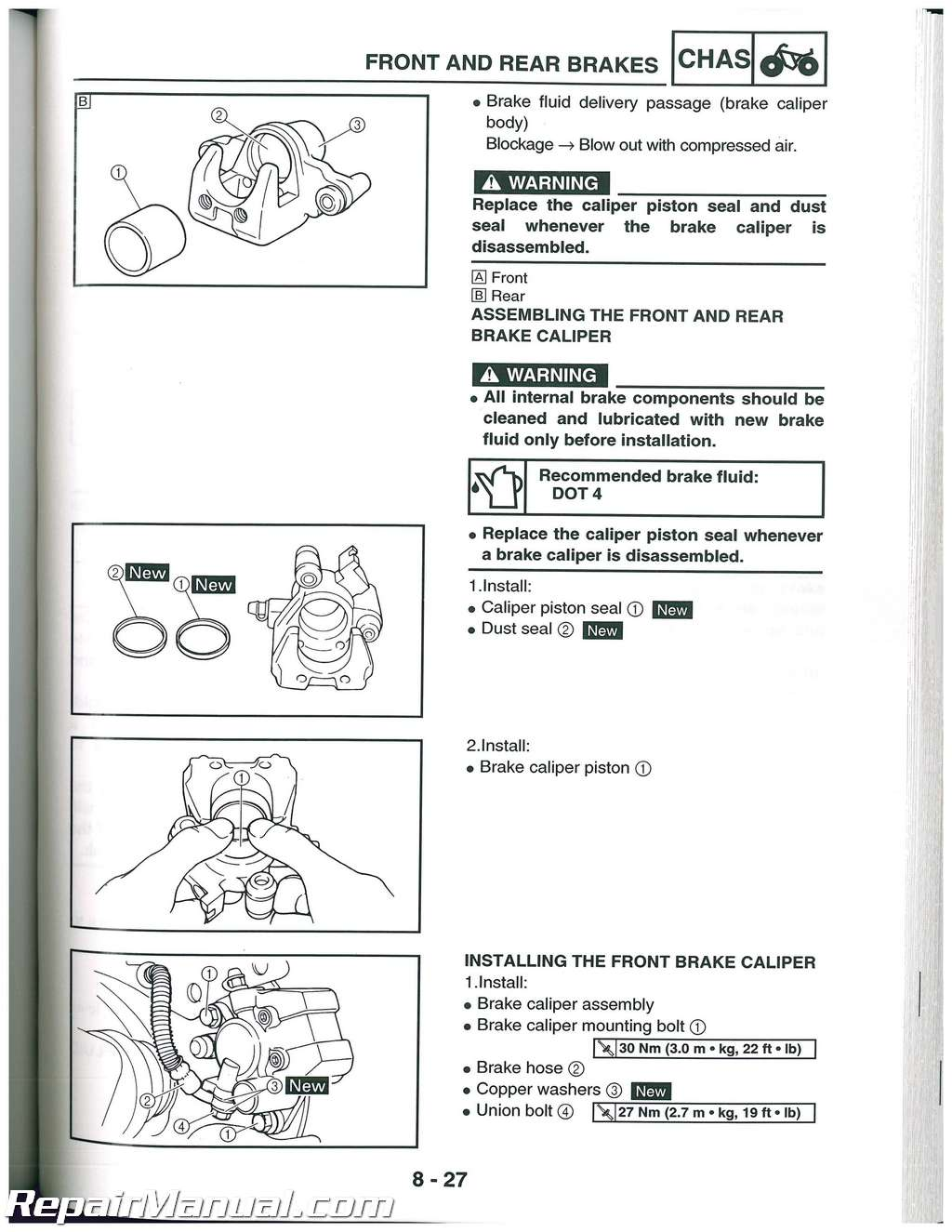Yfm450f Yamaha Kodiak 450 Atv Service Manual 2003