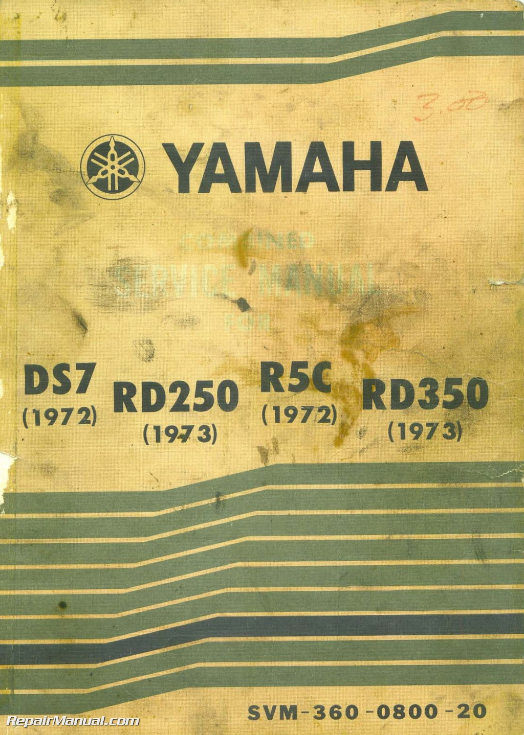 yamaha 1972 ds7 r5c 1973 rd250 rd350 motorcycle service manual rh repairmanual com Yamaha R5 Cafe Racer 1972 DS7 250