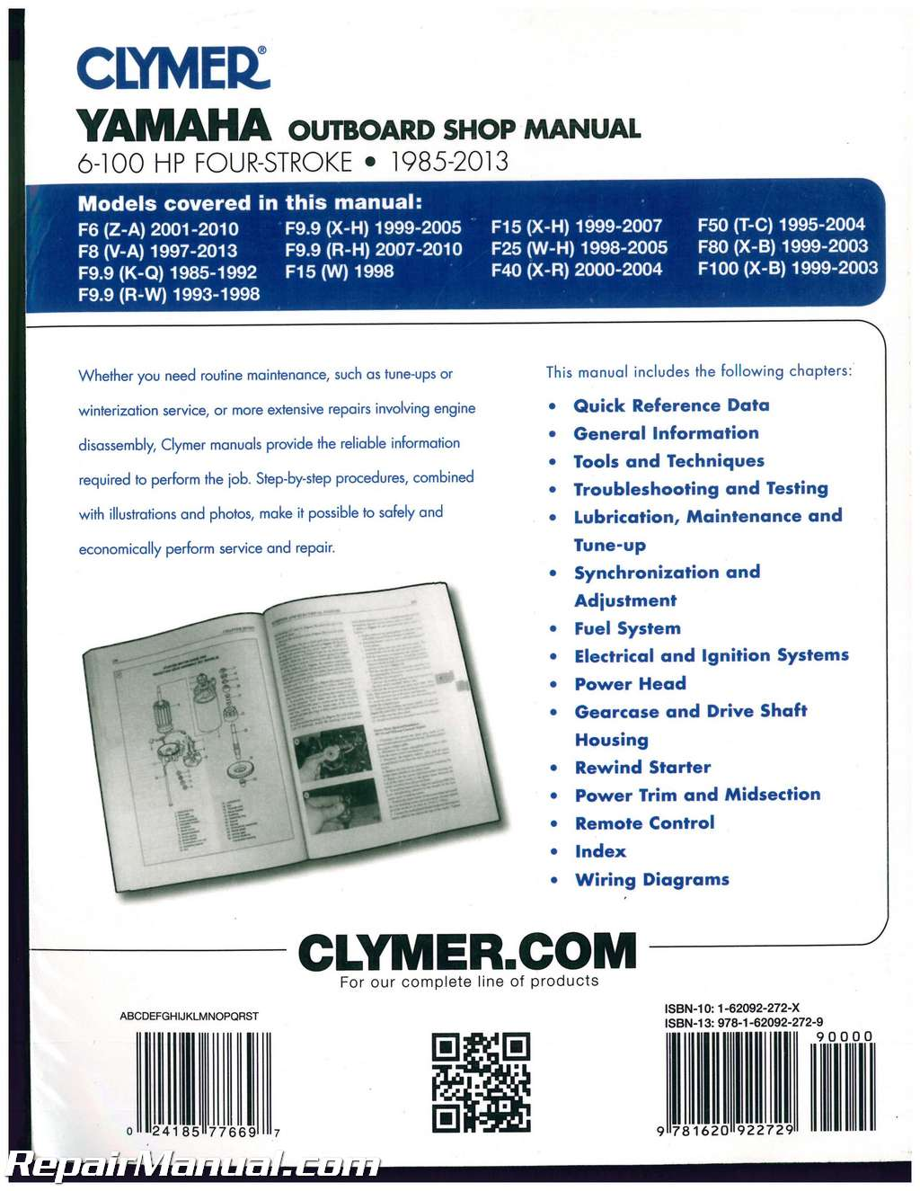yamaha 6 100hp outboard repair manual 1985 2013 by clymer rh repairmanual com yamaha f100 outboard repair manual Yamaha Outboards Manuals 2010
