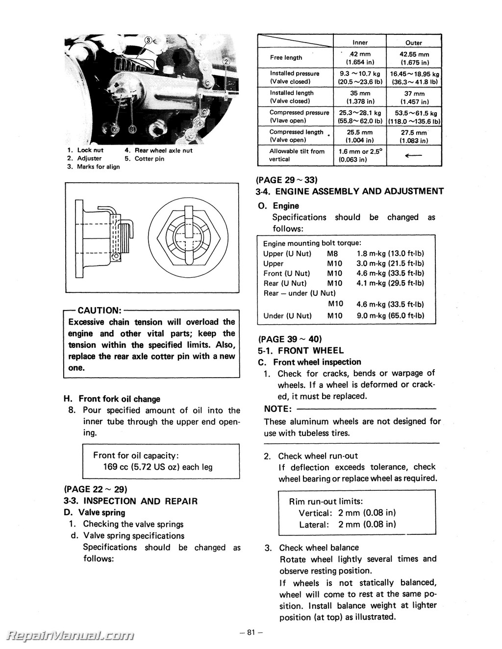 1978 1981 Yamaha Xs650 Service Manual Wiring Diagram 78 80