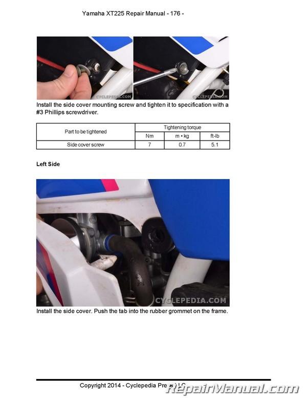 Yamaha XT225 Serow Cyclepedia Motorcycle Service Manual in Print on
