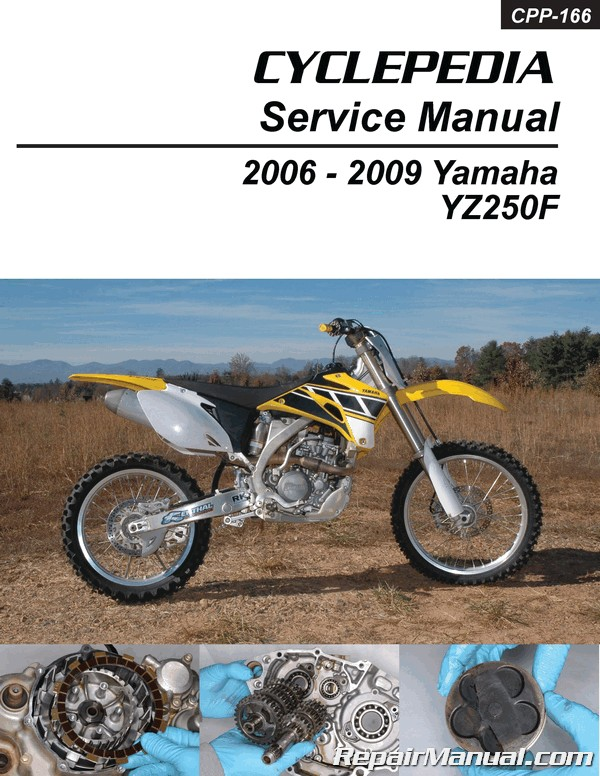 yamaha yz250f cyclepedia printed motorcycle service manual 2006 2009 rh repairmanual com 2009 YZ250F Fork Oil Specs 2009 yamaha yz250f owners manual