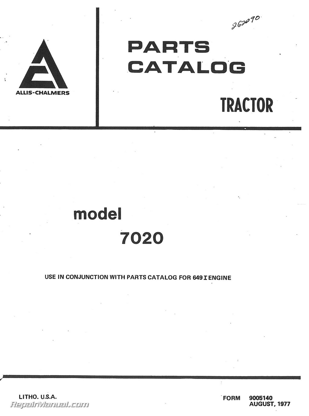 Allis Chalmers 7020 Diesel Tractor Parts Manual