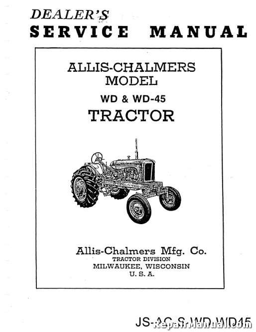 allis chalmers wd wiring schematic diagram allis allis chalmers wd wd 45 tractor service manual repair manuals online on allis chalmers wd wiring