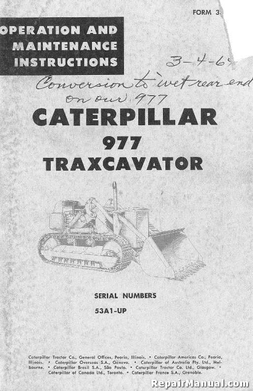 Honda Vin Decoder >> Caterpillar 977 Traxcavator Operators Maintenance Manual ...