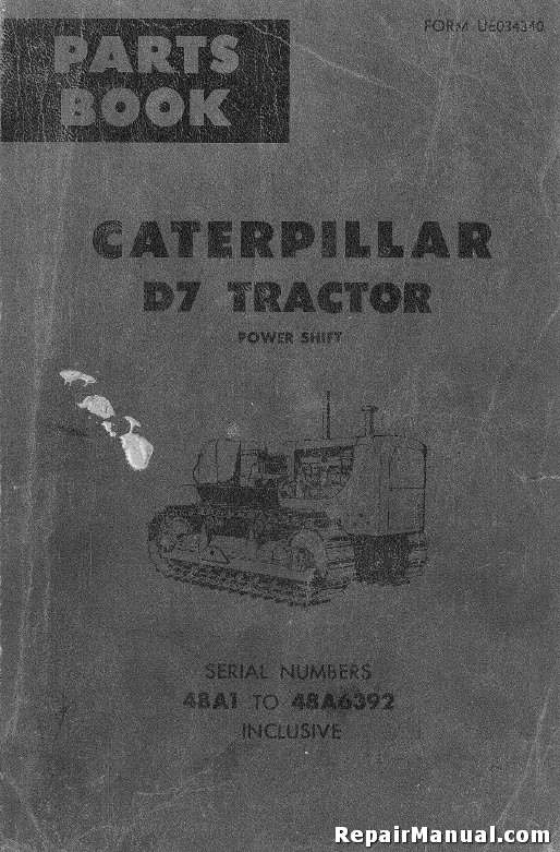 Caterpillar D7 Tractor Power Shift Parts Manual