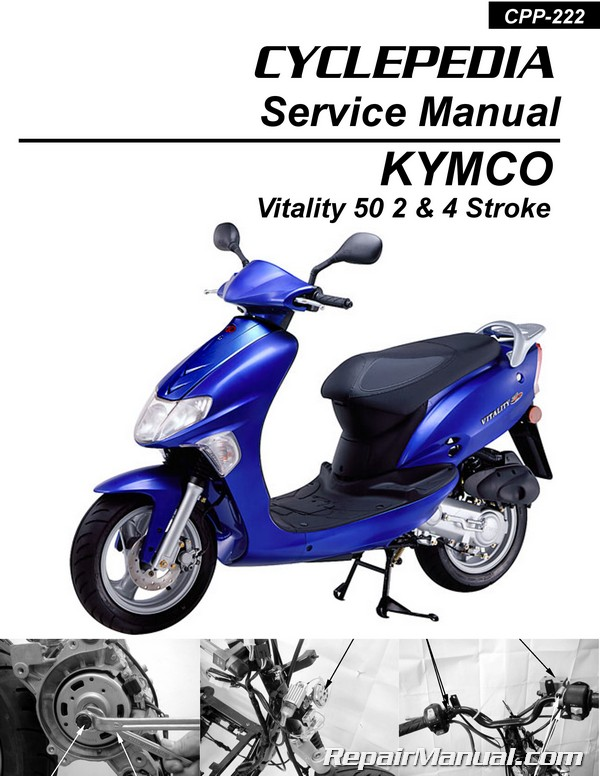 kymco vitality 50 2 4t scooter service manual printed by cyclepedia rh repairmanual com kymco mobility scooter manual kymco scooter manual pdf