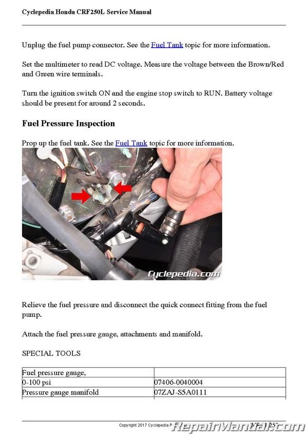 Honda Crf250l Cyclepedia Printed Motorcycle Service Manual
