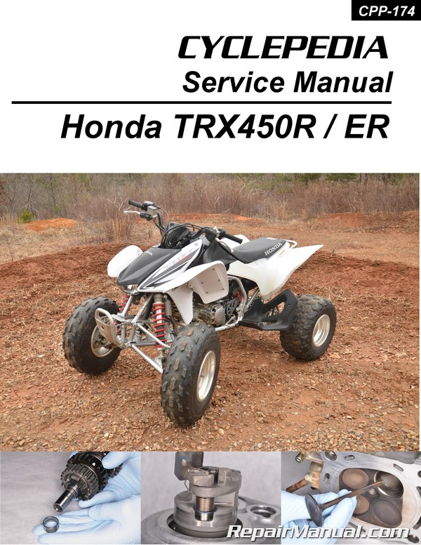 Honda TRX450R ER Sportrax ATV Printed Service Manual by Cyclepedia on 250x wiring diagram, kawasaki wiring diagram, trx250r wiring diagram, atv wiring diagram, 300ex wiring diagram, raptor wiring diagram, z400 wiring diagram, honda wiring diagram, xr250r wiring diagram, crf250r wiring diagram, predator 500 wiring diagram, trx300 wiring diagram, crf230l wiring diagram, yfz450r wiring diagram, crf450r wiring diagram, 400ex wiring diagram, banshee wiring diagram, rebel wiring diagram, foreman wiring diagram, blaster wiring diagram,