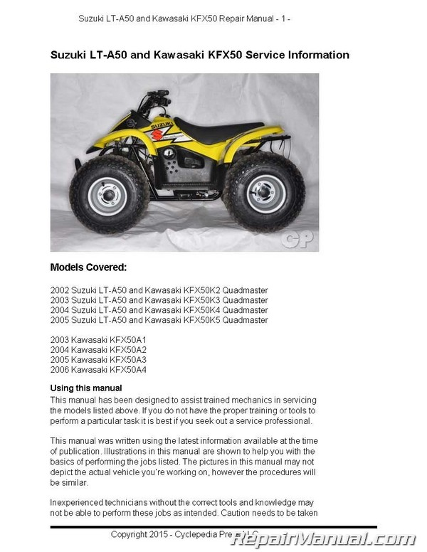 suzuki lt a50 quadmaster kawasaki kfx50 cyclepedia printed service rh repairmanual com 2004 suzuki swift manual 2004 suzuki hayabusa service manual pdf