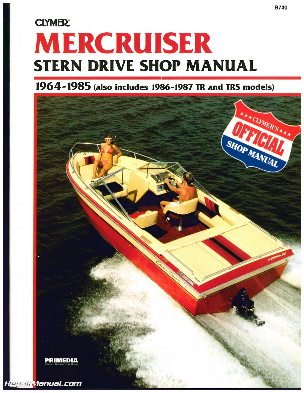 Mercruiser stern drive boat engine shop manual 1964 1987 for Boat motor repair shops