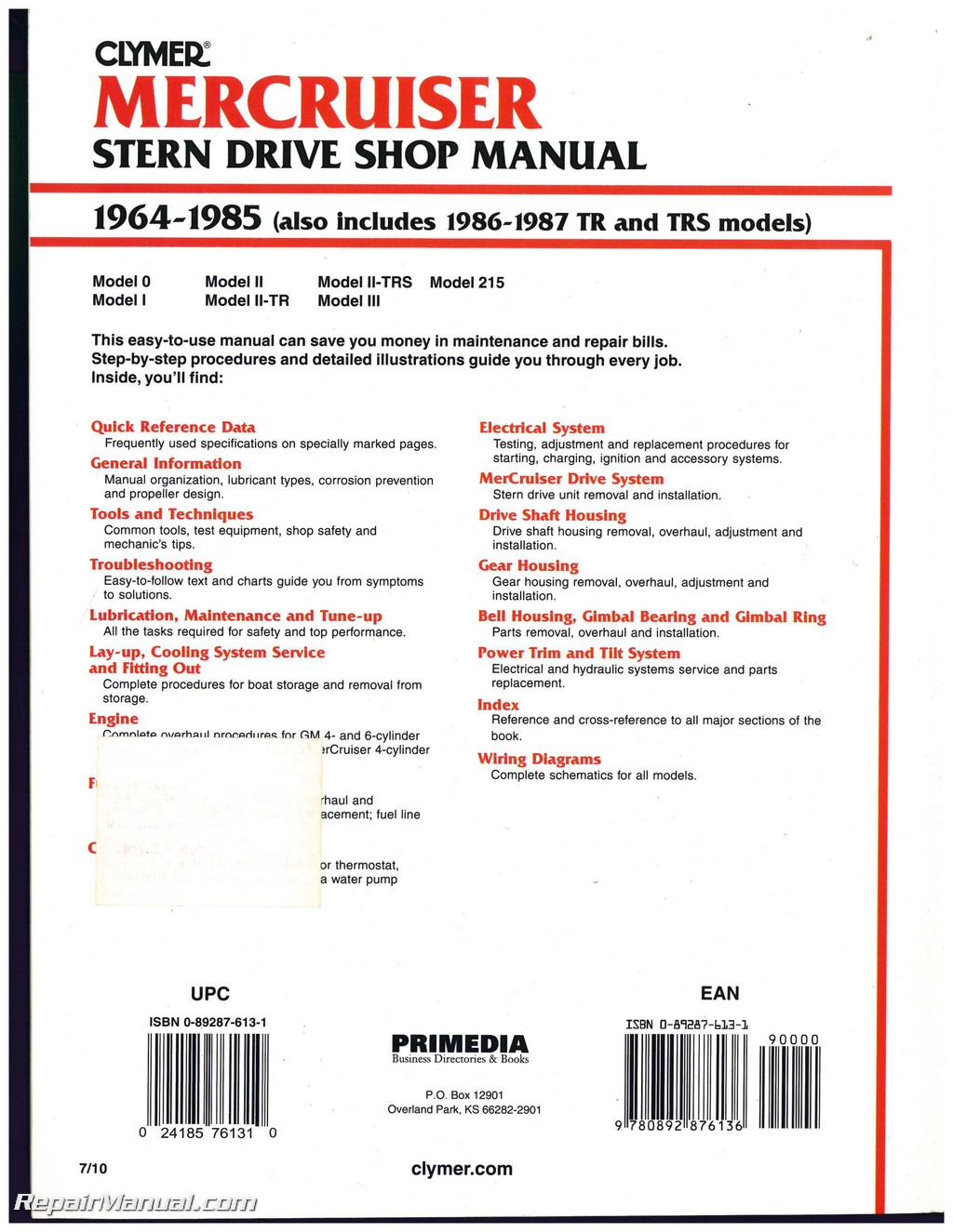mercruiser stern drive boat engine shop manual 1964 1987 rh repairmanual com 3.0L Mercruiser Manual Mercruiser Manual 250 4.5