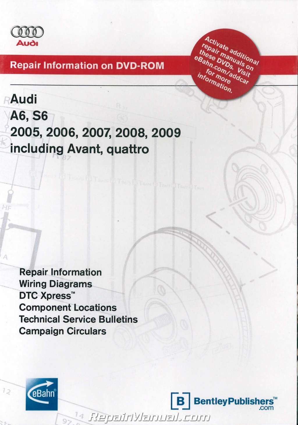 Audi A6 S6 2005-2009 including 2005-2006 Avant quattro Repair Manual DVD-ROM