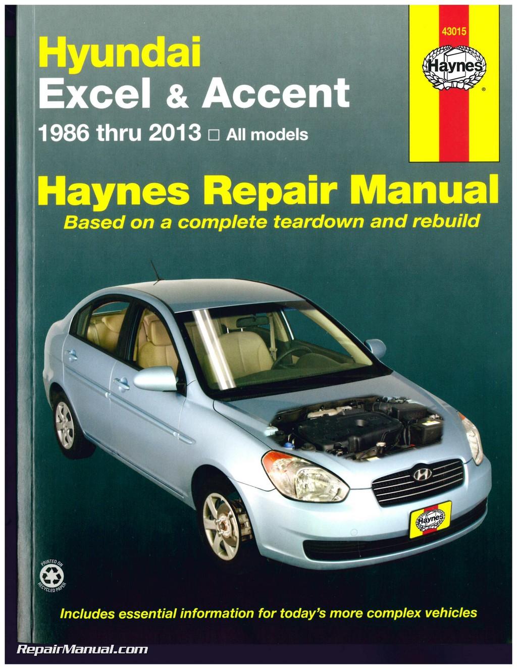Hyundai Excel Accent 1986 2013 Haynes Auto Repair Service